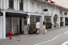 Street in China town. SINGAPORE - MARCH 21 : Street in China town in Singapore on March 21,2015 royalty free stock photo