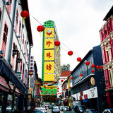 Street in Chinatown. Colorful buildings with lanterns hanging in Chinatown neighbourhood of Singapore Royalty Free Stock Image