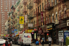 Street in Chinatown, New York. Photo of the contrast street in Chinatown, New York, USA Stock Image