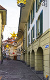 Street with Christmas decoration in the Old City of Thun Royalty Free Stock Image
