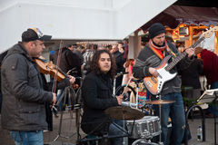 Street Christmas fair band Stock Photography