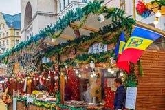 Street Christmas fair, Timisoara, Romania stock images
