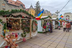 Street Christmas fair with traditional products royalty free stock image