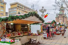 Street Christmas fair with traditional products stock images