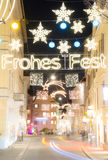 Street Christmas lighting in the city Royalty Free Stock Photography