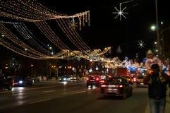 Street christmas lightning Stock Photos
