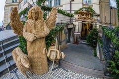 Street Christmas Nativity scene made of straw, Prague, Czech Republic Stock Photos