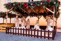 Street Christmas Nativity scene, Prague, Czech Republic Stock Images
