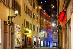 Street at Christmas, Zurich Royalty Free Stock Photos