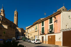 Street with church in  Borja. Aragon Stock Photo