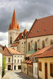 Street with church in historical town. Street with church in historical europe town Stock Photography