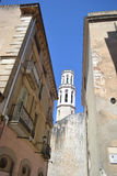 Street and Church of St. Peter in Figueres. Royalty Free Stock Photo