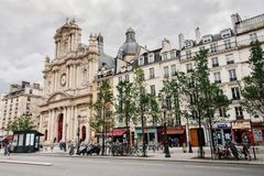 Street and Church View in Marais District stock image