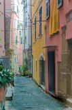 Street in Cinque Terre Italy. And colorful houses royalty free stock images