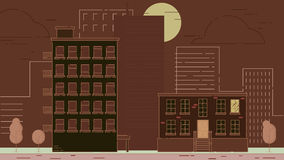 Street City Buildings. City Street stroke style vector illustration skyskrapers brown palette Royalty Free Stock Images