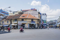 Street of city center, Da Lat, Vietnam. Đà Lạt or Dalat (pop. 206,105 as of 2009, of which 185,509 are urban inhabitants, is the capital of Lâm Đồng Stock Photo