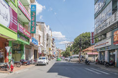 Street of city center, Da Lat, Vietnam. Đà Lạt or Dalat (pop. 206,105 as of 2009, of which 185,509 are urban inhabitants, is the capital of Lâm Đồng Stock Photos