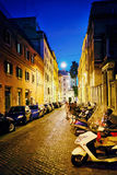 Street in City Center of Rome Italy at night Stock Photos