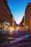 Street in City Center of Rome in Italy at night Stock Photo