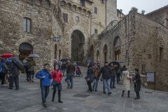 A square in San Gimignano city center, Italy royalty free stock photos