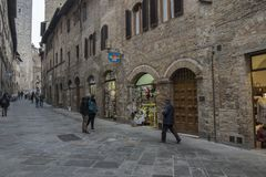 A street in San Gimignano city center, Italy royalty free stock photography