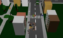Street of a city with construction site, pedestrian crossing, pa stock illustration