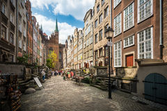 Street in City of Gdansk, Poland, Europe. Royalty Free Stock Photos