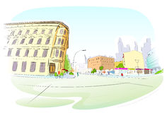 Street City Hand Draw Sketch Colorful Buildings Stock Photos