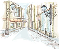 The street of the city daily with lanterns.  stock illustration