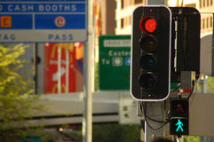 Street city lights. Detail photo of street traffic lights, traffic signs, city Royalty Free Stock Photo