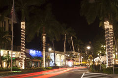 Street in the city of Naples at night. Florida, USA Royalty Free Stock Photos