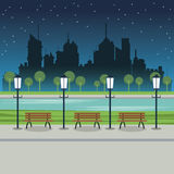 Street city night post lamp bench river. Illustration Royalty Free Stock Photo