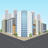 Street of the city with office buildings stock illustration