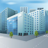 Street of the city with office buildings. In perspective Stock Photography