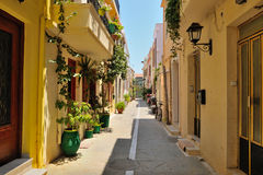 Street in city of Rethymno, Crete Royalty Free Stock Images