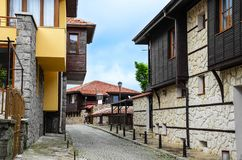 Street of the city of Sozopol in Bulgaria. stock photos