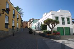 Street of a city of Tenerife in the Canary Islands. Street of the city of La Granadilla de Abona on the island of Tenerife adorned with native plants and stock images
