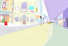 Street city view draw sketch shops colorful Stock Photography