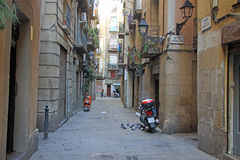 Street in Ciutat Vella (Old Town) in Barcelona Stock Images