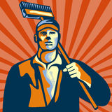 Street Cleaner Holding Broom Front Retro Royalty Free Stock Photo