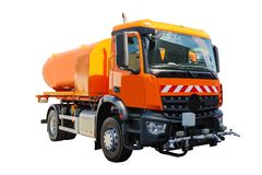 Street cleaner machine isolated on white background with clipping path.  stock images