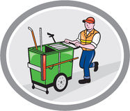 Street Cleaner Pushing Trolley Oval Cartoon Stock Photo