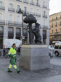 Street cleaner removes approximately symbol of Madrid Stock Photography