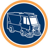 Street Cleaner Truck Circle Retro Stock Image