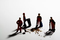 Street cleaners B. Miniature model of street cleaners tidying up litter Stock Image