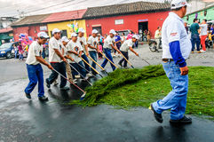 Street cleaners after Holy Week procession, Antigua, Guatemala Stock Images