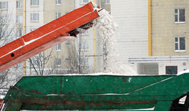 Street cleaning. At winter, using snow-cleaning mashine Stock Image