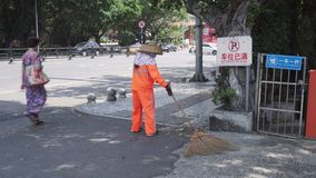 Street cleaning service in Sanya City, Hainan Island stock footage video stock video