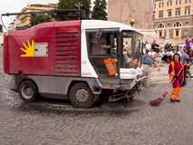 Street Cleaning Truck in Rome, Italy Royalty Free Stock Photography