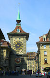 Street clock of Bern. View on old city clock, streets and houses of Bern, capital of Switzerland stock photo
